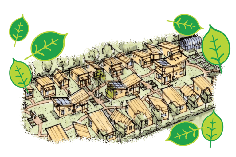 Drawing of sustainable affordable housing